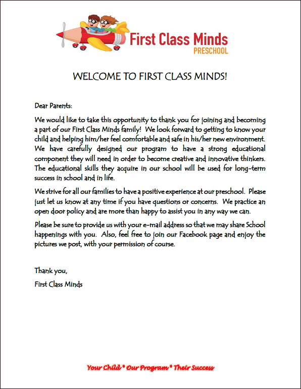 Welcome to First Class Minds Preschool